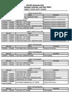 UGC NET Seating Chart(Subject Wise)