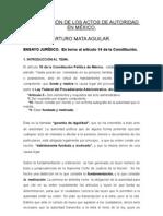 La MotivaciÓn de Los Actos de Autoridad en mÉxico
