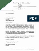Nombramiento a la Comisión de Desarrollo Constitucional del Colegio de Abogados de Puerto Rico, diciembre 2012