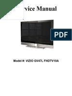 Vizio Lcd Tv Gv46l Hdtv Gv47l Fhdtv10a Parts & Service Manual