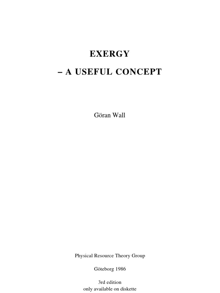 Thesis_ Exergy - a useful concept | Exergy | Second Law Of ...