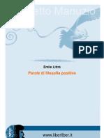 Littrè Emile - Parole di filosofia positiva