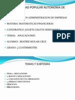 APLICACION DE MATEMATICAS FINANCIERAS