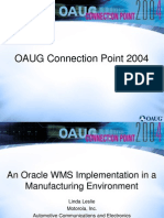 An Oracle WMS Implementation in a Manufacturing Environment