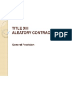 Xiii. Aleatory Contracts