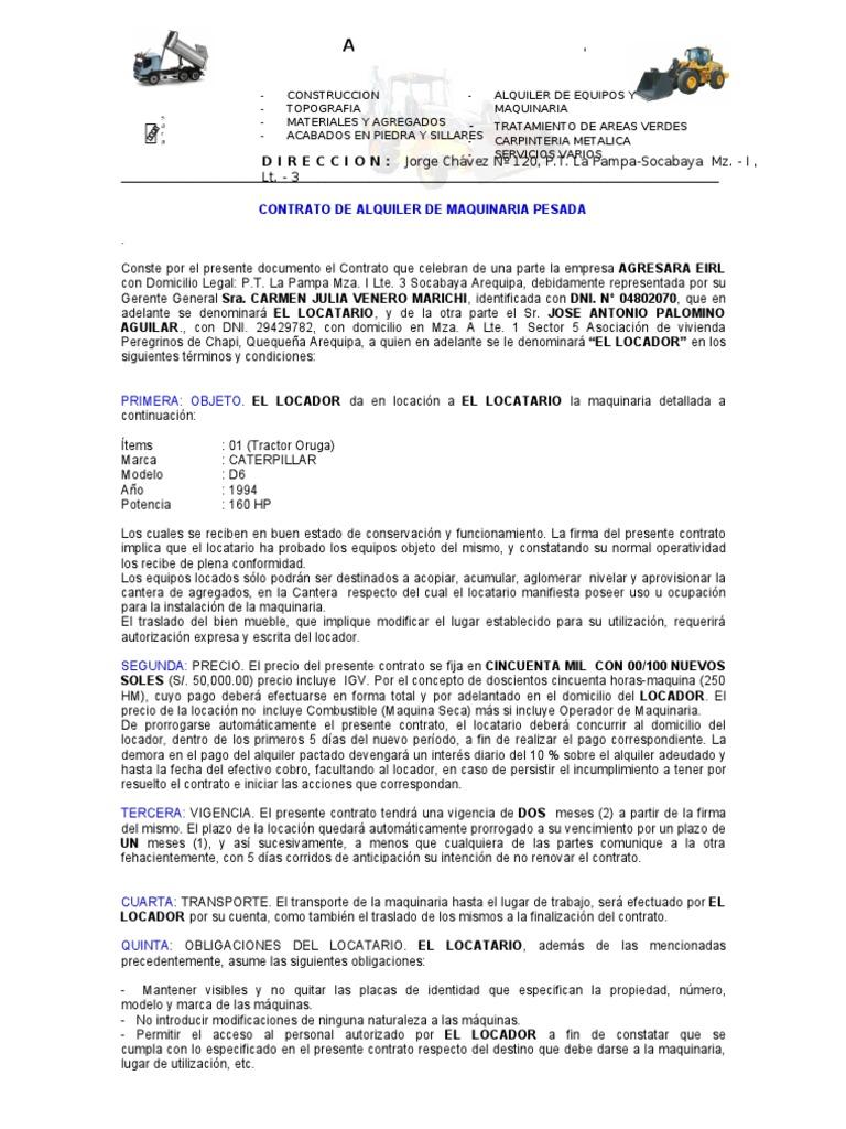 Modelo contrato maquinaria pesada for Contrato de arrendamiento de oficina