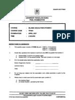 Exam paper Islamic Education ( TESL )