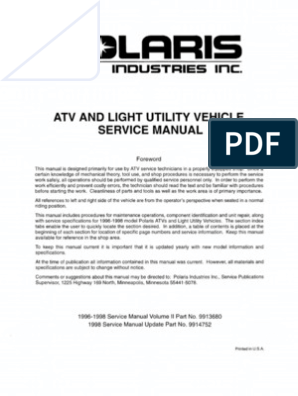 Polaris ATV Service Manual 1996 - 1998 All Models