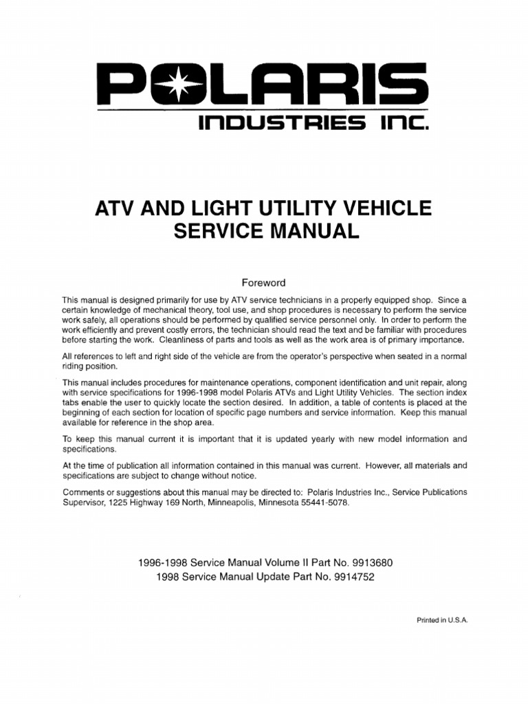 Polaris Atv Service Manual 1996 1998 All Models Suspension 150 Hp Evenrude Hose Diagrams Vehicle Gallon