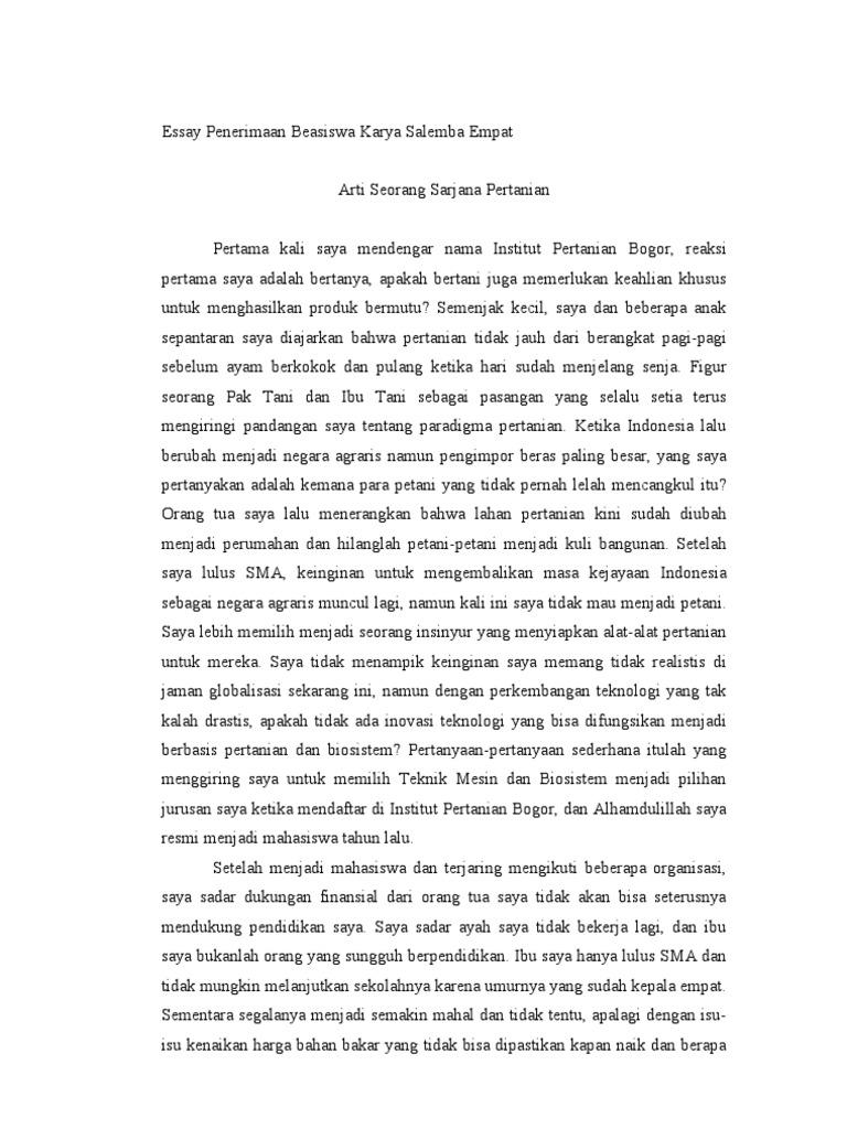contoh essay beasiswa uph