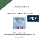 CSCAP Memo No.22 - Nonproliferation of Weapons of Mass Destruction