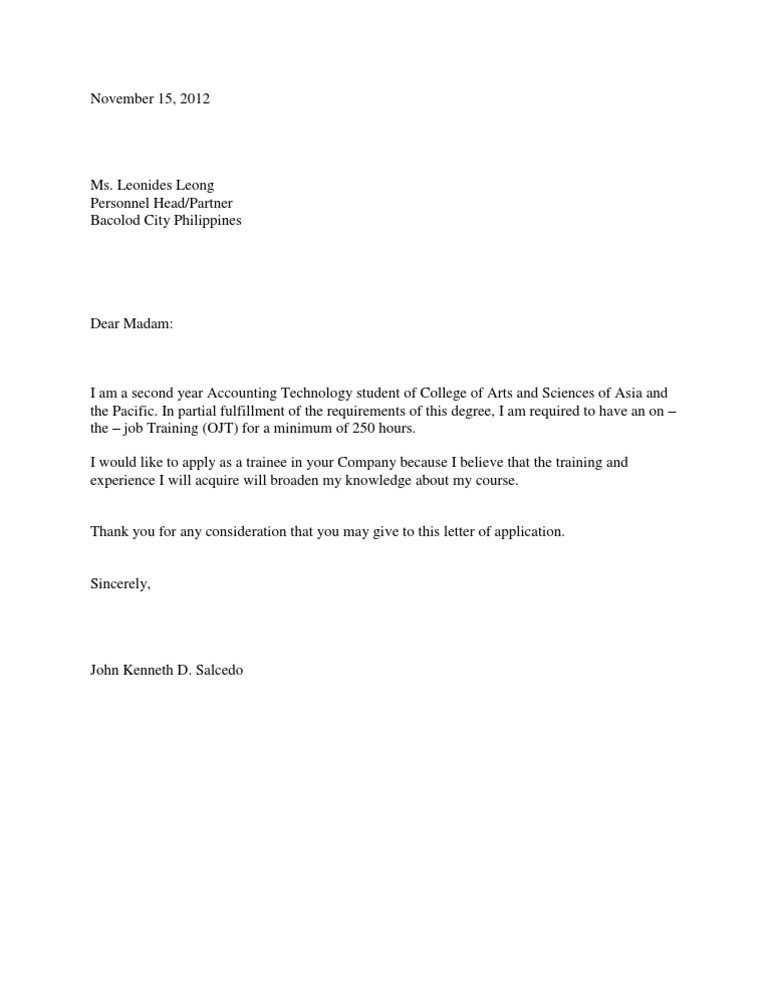 Sample Application Letter For Internship Training