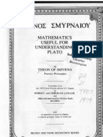 102063538 Mathematics Useful for Understanding Plato Theon of Smyrna ONE of the MOST IMPORTANT TEXT in EXISTENCE