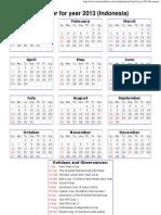 Year 2013 Calendar – Indonesia