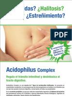 Acidophilus Complex, probiótico que regula el tránsito intestinal y desintoxica el tracto digestivo.