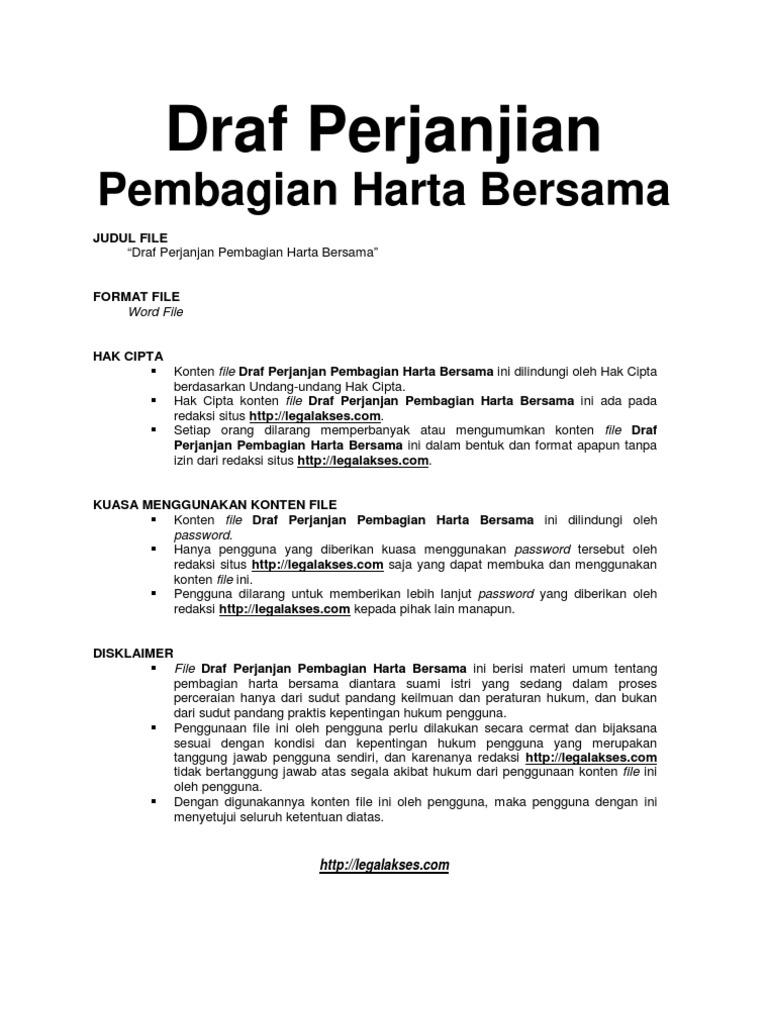 Contoh Surat Pernyataan Harta Gono Gini