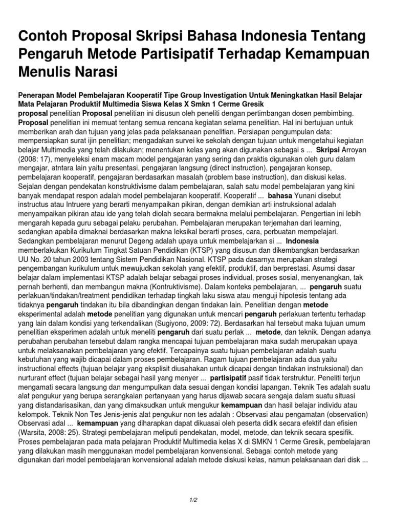 Contoh Proposal Skripsi Bahasa Indonesia Tentang Pengaruh Metode Partisipatif Terhadap Kemampuan Menulis Narasi