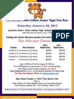 KCHS 5th Annual Jr. Tiger Fun Run Flyer Announcing Parents 3K