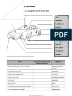 Car Vocabulary Worksheet