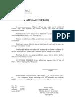 Affidavit of Loss - Sample