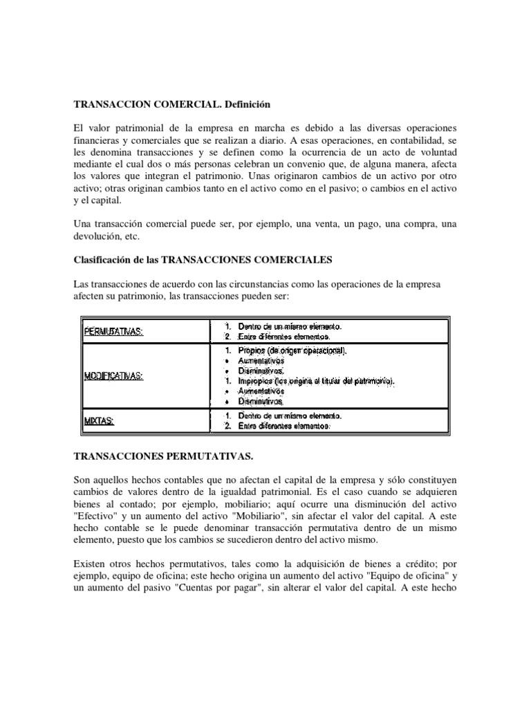 Transaccion comercial for Oficina comercial definicion