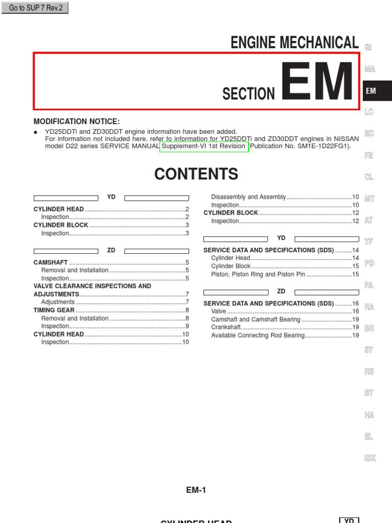 yd25ddti and zd30ddt engines in nissan repair manuals cylinder rh scribd com zd30 workshop manual download zd30 workshop manual pdf