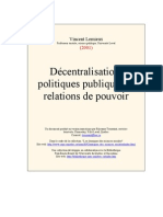 Décentralisation, politiques publiques