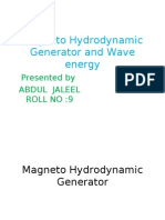 Magneto Hydrodynamic Generator and Wave energy