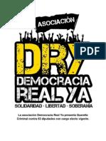 Democracia Real YA Presenta Querella Criminal Contra 63 Diputados Con Cargo Electo Vigente (1)