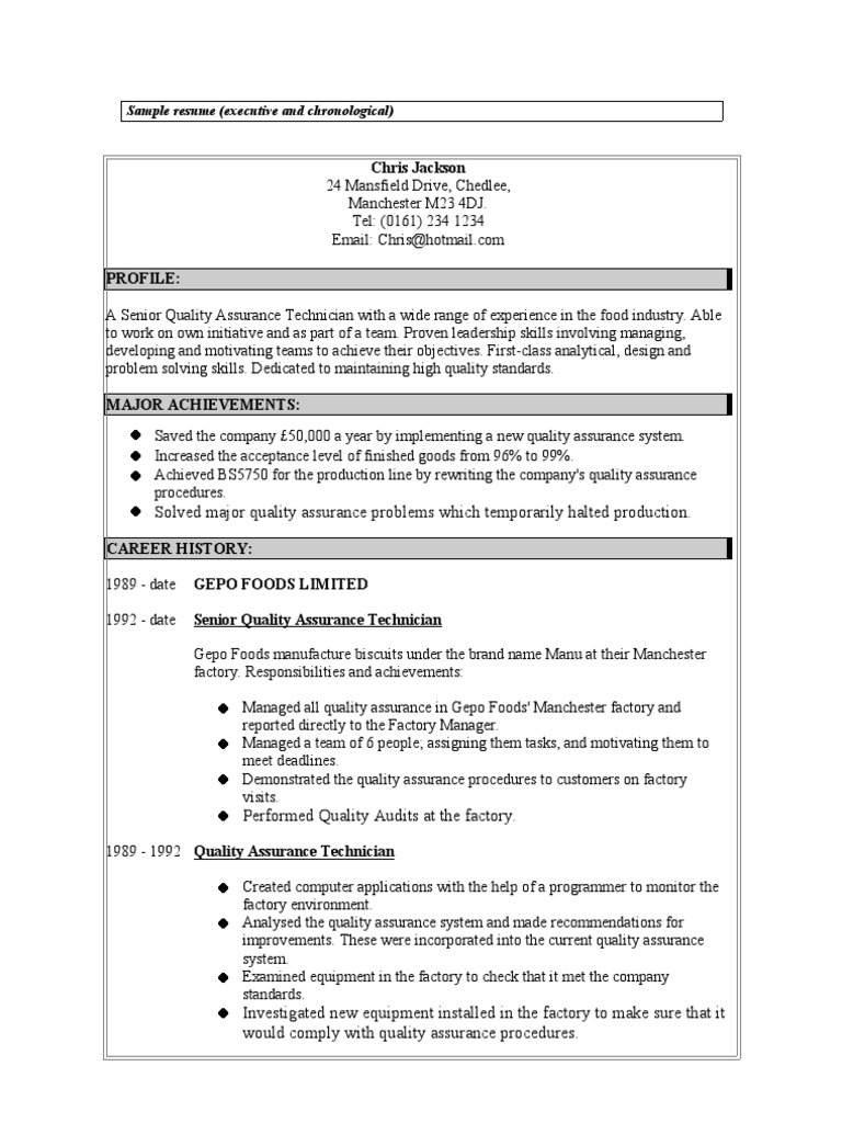 Resume 3 Quality Assurance Canning