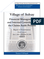 NYS Comptroller Audit of Village of Solvay