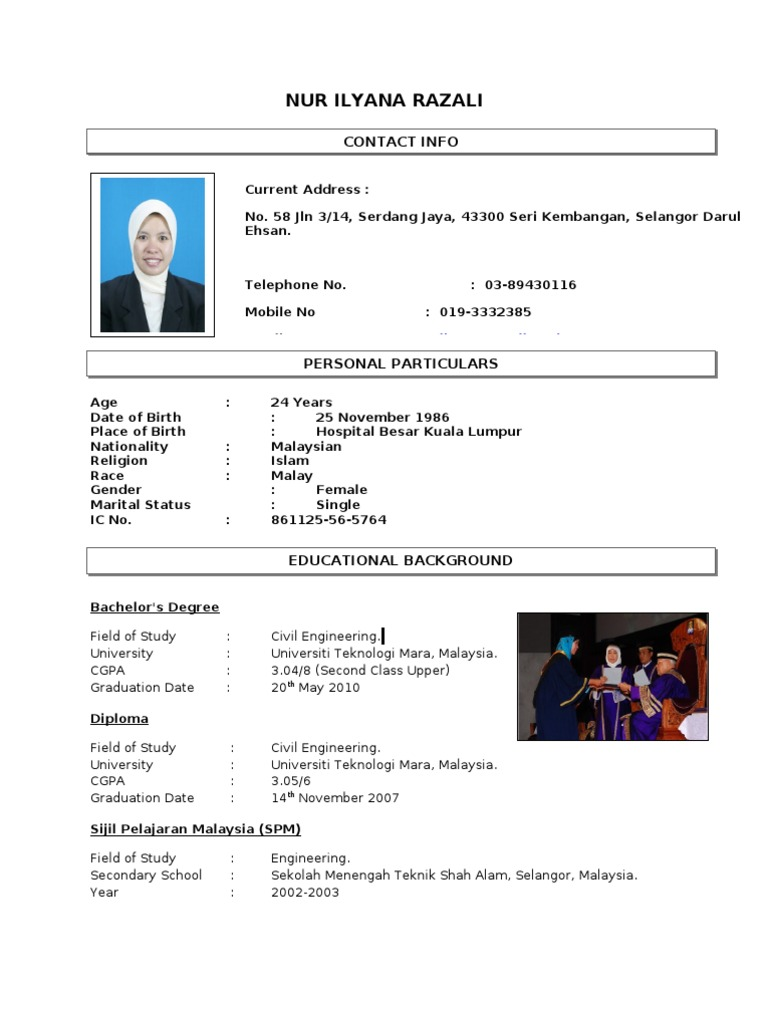 contoh resume from anis malaysia schools