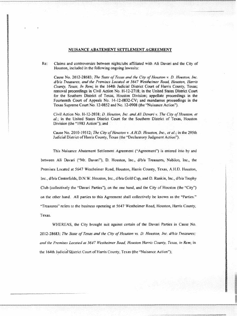 Nuisance abatement settlement agreement arbitration settlement nuisance abatement settlement agreement arbitration settlement litigation platinumwayz
