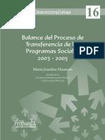 balance de transferencia de progrmas sociales