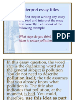 Unit 6 How to Interpret Essay Titles