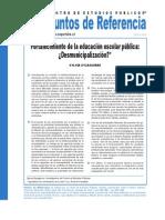¿Desmunicipalización? Sistema Escolar en Chile