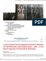 A List of Some Seed Companies Owned by Monsanto Or Sell Monsanto And Seminis Seeds – And – A List of Seed Companies Not Owned by Monsanto