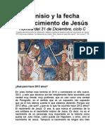 Dionisio y la fecha del nacimiento de Jesús
