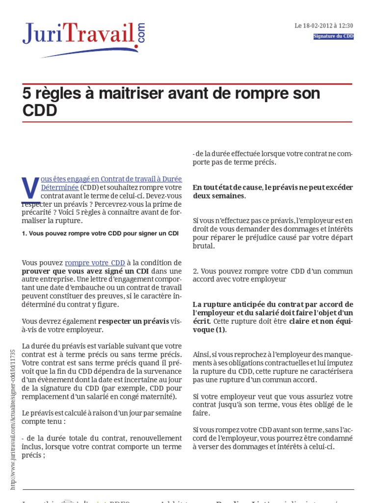 Www Juritravail Com 5 Regles A Maitriser Avant De Rompre Son Cdd