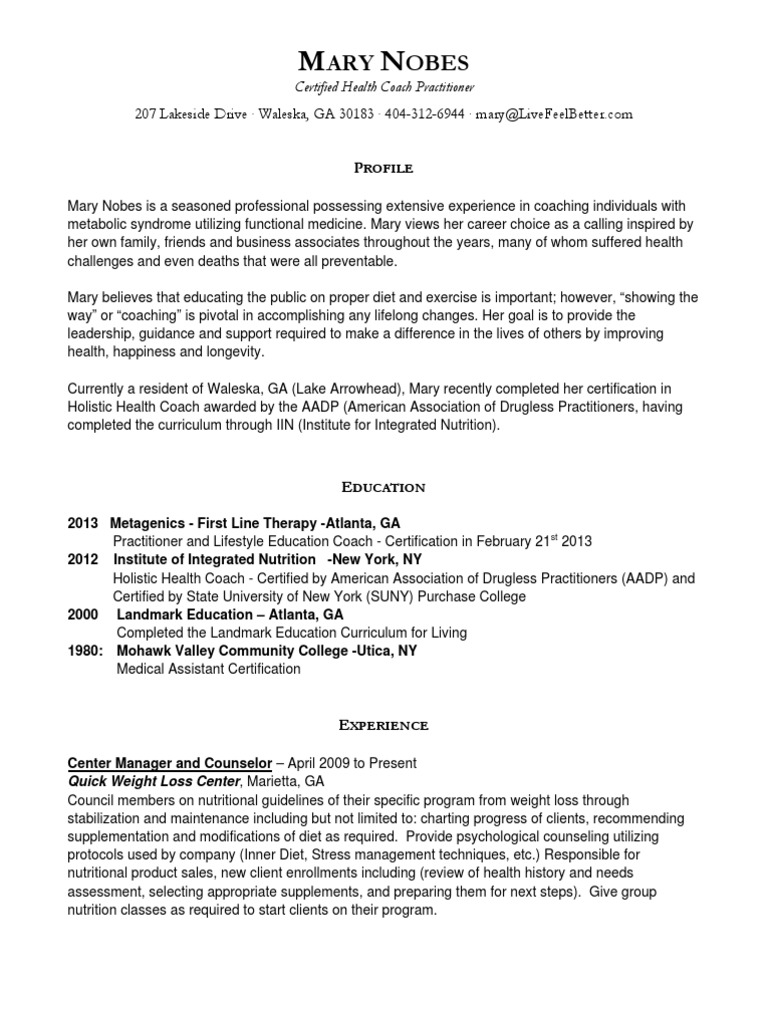 Resume Mary Nobes Hc Practitioner Nutrition Mortgage Loan