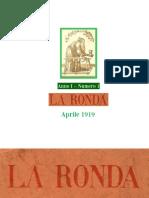 LA RONDA  Rivista Anni I Numero 1  Aprile 1919  .