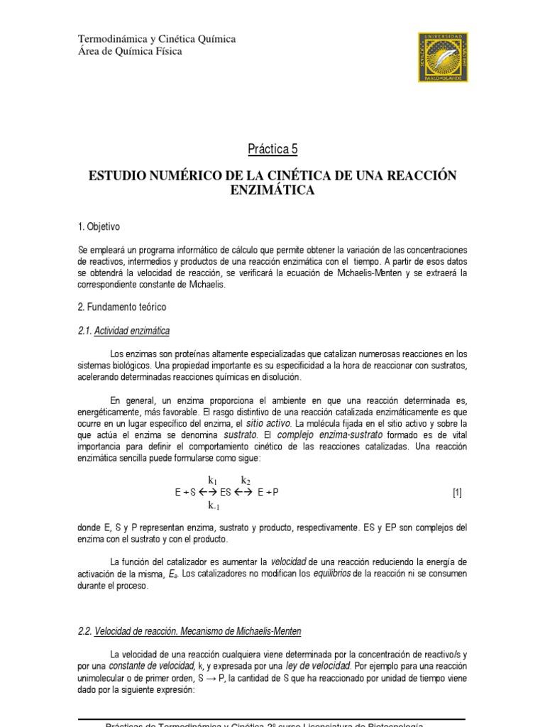 Cinetica enzimatica bioquimica pdf to excel