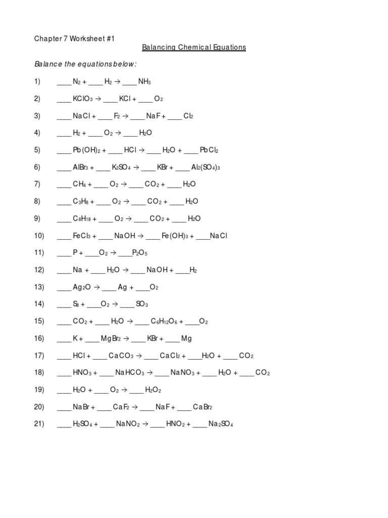 Balancing Chemical Equations 6 Chapter Chloride – Balancing Chemical Equations Chapter 7 Worksheet 1 Answers