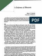 Aristotle's defense of rhetoric