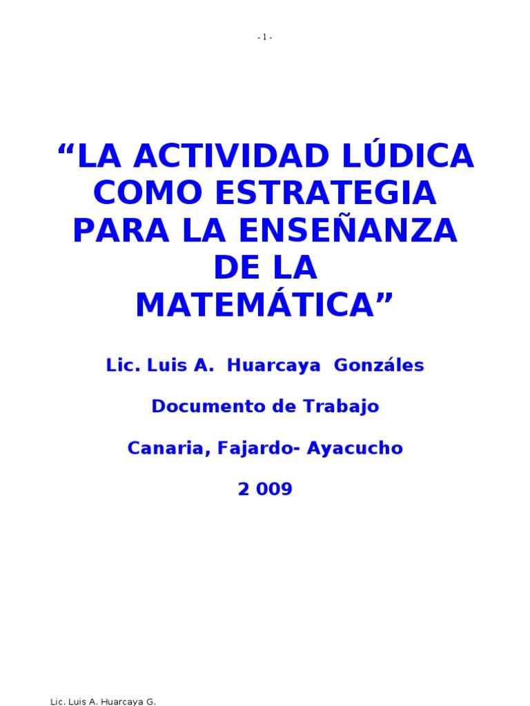 Actividad Ludica En Matematica