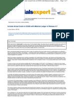 SAP COGS via ACTUAL COSTING
