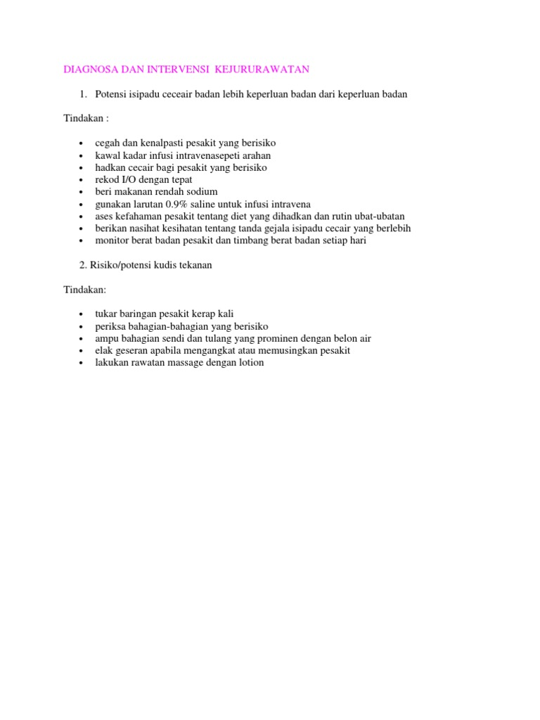 diagnosa dan intervensi rh scribd com Pengertian Prosedur Teks Prosedur