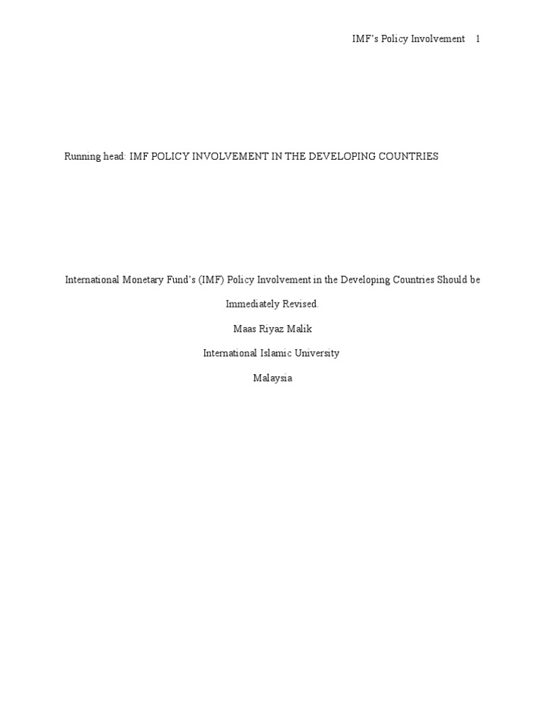 imf developing countries an argumentative essay