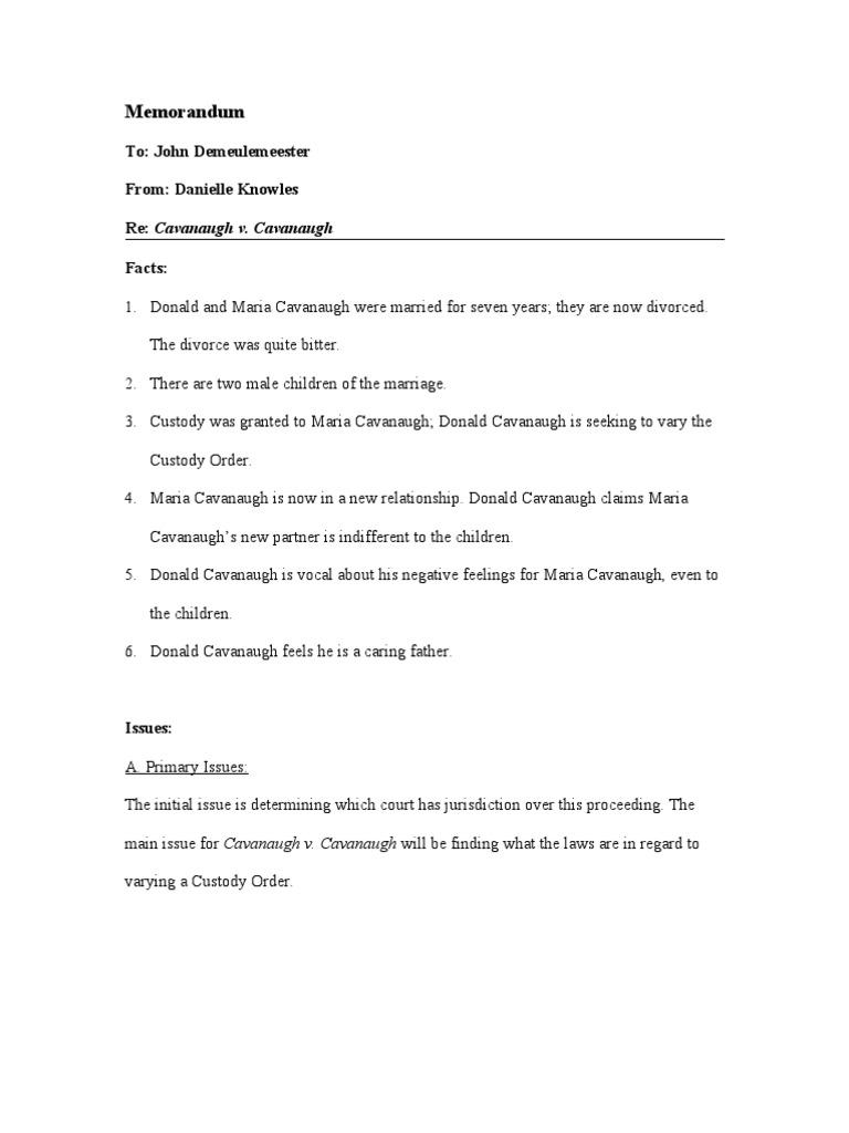sample mock memorandum divorce marriage