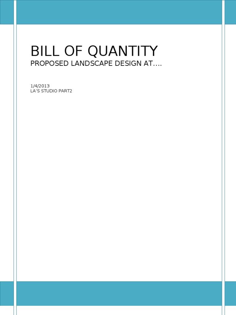 Bill of quantities landscape architecture agriculture thecheapjerseys Image collections